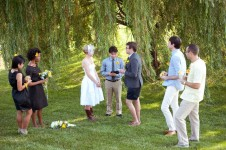 Country wedding in Illinois under willow tree