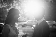 black and white portraits of bride and groom in lincoln park